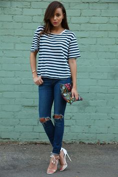 Ashley Madekwe, jeans, striped top, embellished clutch, white patent high heel sandals ☑️