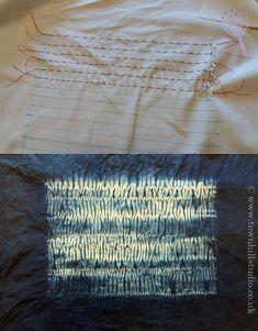 Mokume stitching and completed shibori design