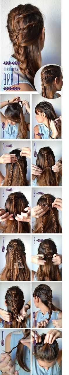 Medieval Braid Make a ponytail using a breakable elastic. Steps 2 through 11 work as it looks. When you get to stage make sure all braids are twisted well. Secure step 12 with another elastic that holds all braids together. Braided Hairstyles Tutorials, Diy Hairstyles, Pretty Hairstyles, Mermaid Hairstyles, Hairdos, Nappy Hairstyle, Medieval Hairstyles, Halloween Hair, Halloween Costumes