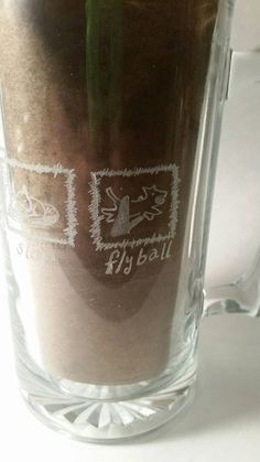Flyball Etched Engraved Glass  Beer Stein Eat Sleep Flyball