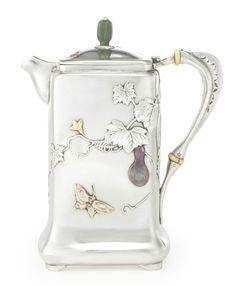 An American silver and mixed-metal Japanese style hot milk jug, Tiffany