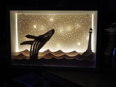 Whale lighthouse paper diorama light box night by TwineAndStone