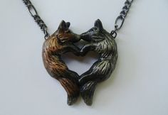 Fox Love Necklace Red Silver Couple Heart Pendant Charm Cute Polymer Clay on Etsy, $36.00