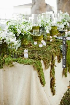 Sweet! - Moss covered table...great for buffet table! | CHECK OUT MORE GREAT GREEN WEDDING IDEAS AT WEDDINGPINS.NET | #weddings #greenwedding #green #thecolorgreen #events #forweddings #ilovegreen #emerald #spring #bright #pure #love #romance