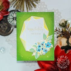 Flower Frame Birthday Card – Me And My Daily Papercraft Simple Birthday Cards, Gold Watercolor, Bunch Of Flowers, Have A Beautiful Day, Flower Frame, Distress Ink, My Stamp, I Card, Card Stock