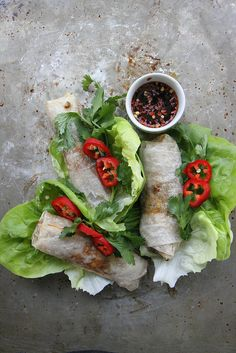 Crispy Baked Spring Rolls with Sweet Soy Dipping Sauce (Gluten free)