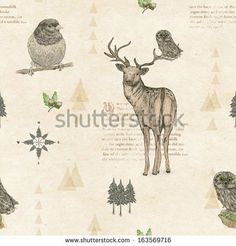 Hand drawn with pecil seamless pattern with deer and owl  #eco #krafrt #animals