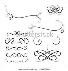 Calligraphic elements on white background. Set of Calligraphic flourishes and Swashes. Black design loops. Curled Calligraphic flourish, Swash and loops for decoration. Calligraphic design element