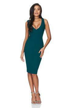 991459603dc Teal Majesty Midi Dress   Buy Designer Dresses Online at Nookie Crepe  Fabric