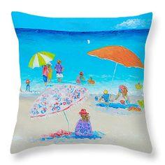 "Beach Painting - Blazing Hot  Throw Pillow 14"" x 14"" #beachpillows #coastalpillows #throwpillows #cushions #pillows #coastaldecor"