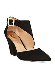 Elegant with a touch of vintage flare. #VinceCamuto #heels #suede #black