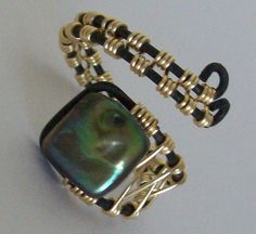 Adjustable Ring - Freshwater Pearl -Unique Olive green Square - Wire Wrapped - Size 8 9 10 11