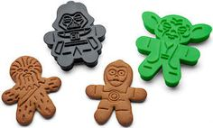 Bake gingerbread cookies that look like Darth Vader, Boba Fett, Chewbacca, Yoda, C-3PO and a Stormtrooper from Star Wars with these cookie cutters.