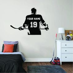 Personalized Hockey wall sticker for your room! Design your room with hockey player sticker on the wall. It is so easy to upload and also it is super easy to take off, without any scratch on your wall. Check our shop and choose yours! Baseball Wall, Football Wall, Football Stickers, Sports Baseball, Basketball, Sports Wall Decals, Wall Stickers Room, Hockey Bedroom, Personalized Wall Decals