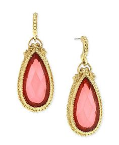 2028 Earrings, Gold-Tone Coral-Colored Bead Teardrop Earrings - All Fashion Jewelry - Jewelry & Watches - Macy's