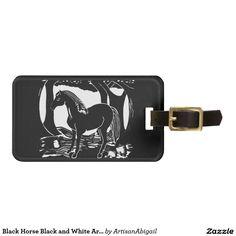 Black Horse Black and White Art Luggage Tag; Abigail Davidson Art; ArtisanAbigail at Zazzle