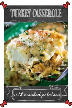 This Leftover Turkey Casserole Recipe is perfect for the day after Thanksgiving or Christmas! Leftover turkey and left over gravy are topped with leftover mashed potatoes and grated fresh cheese, then baked to golden perfection. You can even throw in some extra leftover vegetables and stuffing, and serve with a side of cranberry sauce! #thanksgiving #christmas #leftovers #leftoverturkey