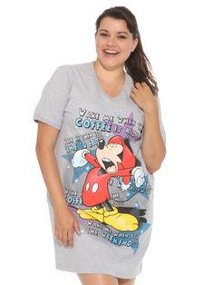d471141e56633 Disney Mickey Mouse Wake Me V-Neck Sleep Shirt 1X Heather Gray