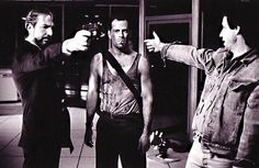 Alan Rickman&Bruce Willis Die Hard behind the scenes Alan Rickman, Bruce Willis, Scene Image, Scene Photo, Famous Movies, Good Movies, 1980's Movies, Awesome Movies, Flying Superheroes