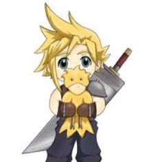 Cloud with baby chocobo.