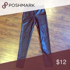 Leather look leggings Black leather pleather wet look leggings from forever 21 new without tags, never worn or washed or even tried on actually. Forever 21 Pants Leggings