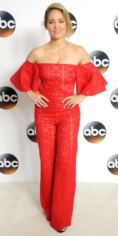 Erika Christensen also attended the 2017 Summer TCA Tour, wearing an eye-catching look. The actress wore a bright red off-the-shoulder jumpsuit with flared sleeves and seemingly sheer lace detailing. A pair of black heels was all she needed to complete the look.