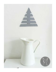 Felt evergreen coaster grey Christmas tree table by LaNiqueHOME