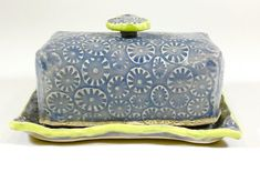 Lavender and Pear Green Ceramic Butter Dish by Cre8ivePottery