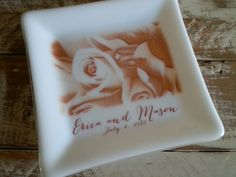 Personalized fused glass wedding plate.