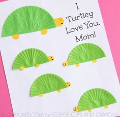 Kids can create a cute homemade turtle themed Mother's Day card.