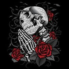Day of the Dead Praying Skull Screen Printed Short Sleeve T-Shirt - Metalhead Art & Design, LLC