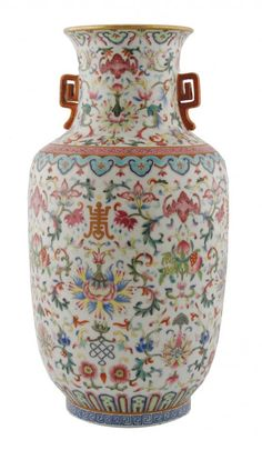 Chinese Old Marked Gilt Famille Rose Colored Flowers Porcelain Double-Gourd Vase