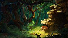 Dragon's cave, Ivan Ovsyannikov on ArtStation at http://www.artstation.com/artwork/dragon-s-cave