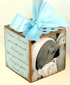 baby block, what a sweet little gift made with love.  One side with name, date, lbs and inches.  Then scrapbook paper