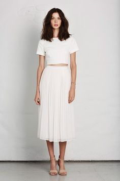 **** Stitch Fix April 2017! Gorgeous tea length white skirt with crop white top.  Love this pairing of white on white.  Simple nude ankle strap sandal.  I die for this look!  Get great looks just like these from Stitch Fix today! Stitch Fix Fall, Stitch Fix Spring, Stitch Fix Summer 2016 2017. Stitch Fix  Spring Summer fashion. Resort Wear #StitchFix #Affiliate #StitchFixInfluencer