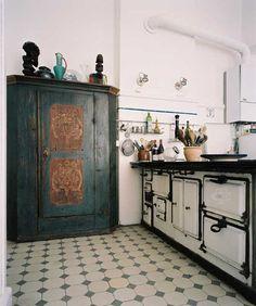 Beautiful antique blue cupboard