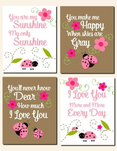 Ladybug Nursery Wall Art Kids Wall Art You Are My Sunshine Baby Girl Nursery Art Pink Brown Flowers Ladybugs Toddlers, Set of 4 Art Prints by vtdesigns on Etsy