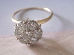 Exceptional Vintage and Fiery Diamond Daisy Cluster Ring! 1.00 ct tw Diamond Engagement Wedding Art Deco Ring. This high quality ring is finely