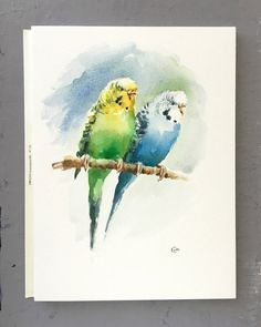Budgies Original unframed watercolor painting on a high quality 300 g/m - 140lb Acid Free Lanaquarelle watercolor paper. Hand painted and signed by the artist Maria Stezhko. Please note that colors may slightly vary depending on your monitor settings. The image fits perfectly in a standard mat for 8x10 picture (mat in the photo is for demonstration purposes only and not included) Paper size: approx. 9 x 12 inches or 23 x 30.5 cm *******************************************************...
