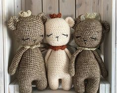 Newborn Teddy Bear,toy for little prince or princess with crow,baby gift,newborn baby gift crochet,Newborn Photo Prop,Teddy Bear,crochettoy