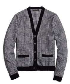 Black and white pattern cardigan.