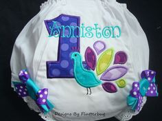 PERSONALIZED 1ST BIRTHDAY Diaper Cover Bloomers  - Numeral One and Peacock in Purples, Aqua & Green
