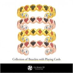 CAD Collection of Bracelets with Playing Cards Cad Services, 3d Cad Models, Jewelry Collection, Crochet Necklace, Playing Cards, Collections, Bracelets, Stuff To Buy, Playing Card Games