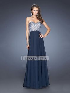 Navy A-line Sweetheart Beadings Chiffon Prom Dress PD11745