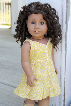 Yellow Floral Sundress  Clothing For American Girl by pippaloo