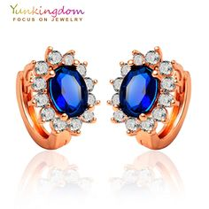 Yunkingdom  synthetic gemstone crystal  rose gold plated boucle d'oreille femme hoop classic ear ring  5 colors
