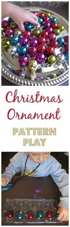 Take a festive manipulative and learn about colors and patterns! Fun for toddlers and preschoolers! Christmas Ornament Pattern Play