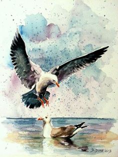 Seagulls and puppies, painted by Berrin Duma SOLD