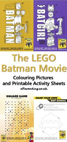 The LEGO Batman Movie Colouring Pictures and Printable Activity Sheets fun LEGO Batman printables - free printable colouring pages and activity sheets featuring Batman and Batgirl along with instructions for how to make your own Bat signal and a fun squares game for you to print off and play! #legobatman