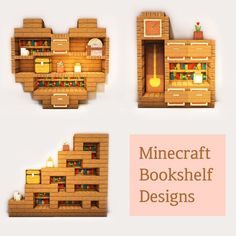 Wooden bookshelf designs: Minecraftbuilds